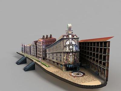 動漫城堡街景模型3d模型