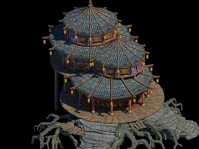 3d游戲場景<font class='myIsRed'>房子</font>建筑模型