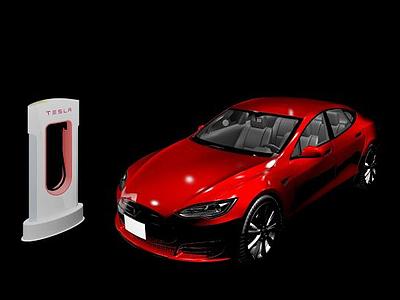 3d特斯拉電動汽車模型