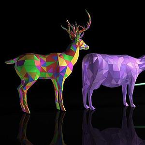 彩色多邊形動物模型