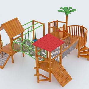 兒童木制滑梯模型