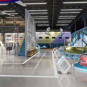 工業風飛機航天展廳展館模型