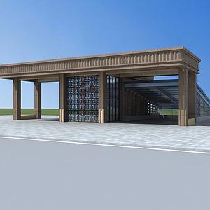 3d小区入口模型