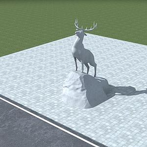 3d雄鹿雕塑模型