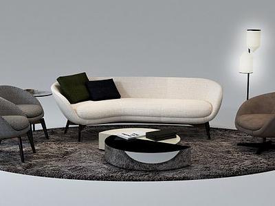 意大利沙發茶幾組合模型3d模型