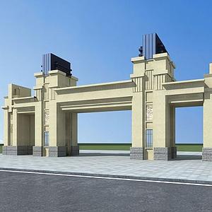 3d小区入口大门模型