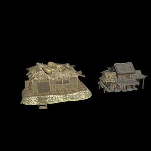 古代寫實茅草屋模型