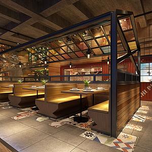 工業風餐飲店模型