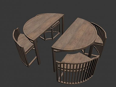 環形桌椅3d模型