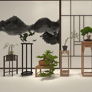 新中式植物擺件模型