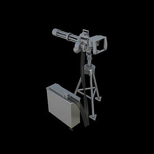 3d卡特林多管机枪模型