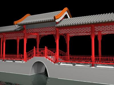 3d亭廊模型