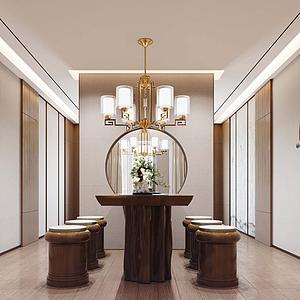 現代風格酒店接待區休息區模型