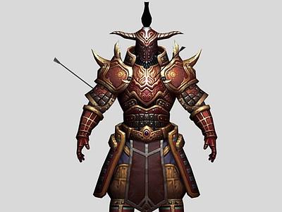 3d游戲角色盔甲戰士模型