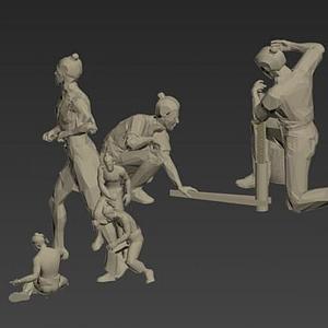 采礦煉鋼人物模型