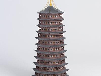 3d古建塔模型