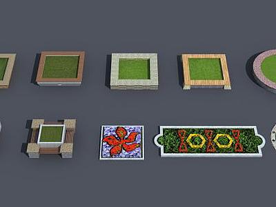 3d花池花壇模型