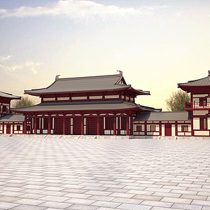 3d唐式建筑模型