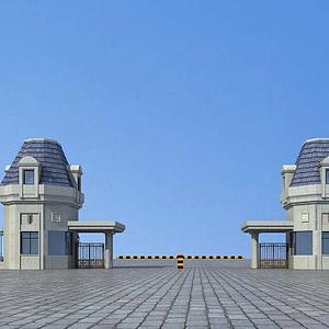 3d大门门卫入口模型