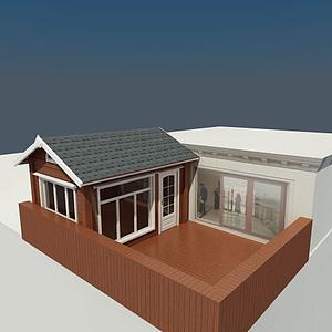 3d屋頂木屋模型