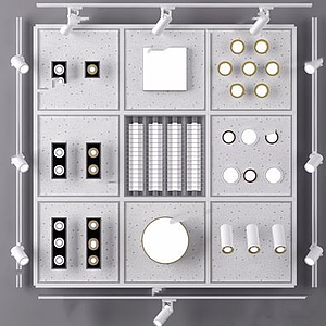 現代筒燈軌道射燈模型