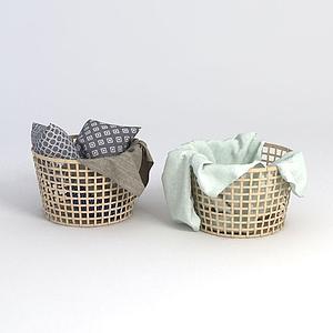 竹編收納筐模型