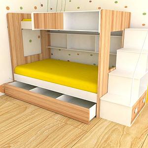 3d多功能<font class='myIsRed'>兒童床</font>雙層床模型