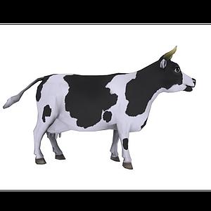 卡通奶牛帶動畫模型
