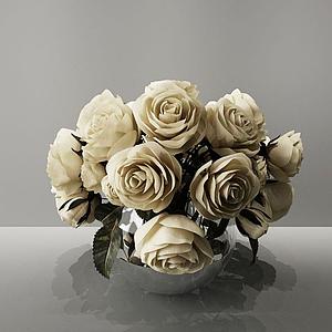 3d白色玫瑰模型