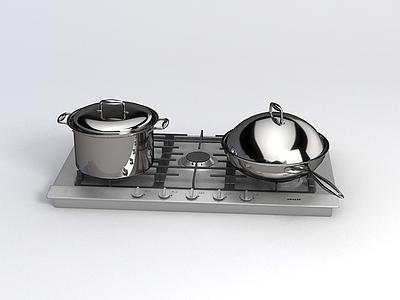 飯店炒鍋煮鍋模型3d模型
