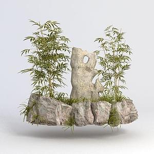 竹子石頭景觀小品模型