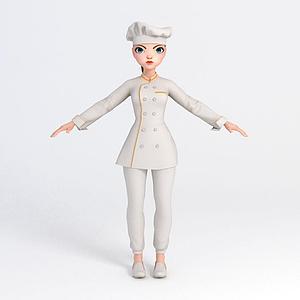 卡通美女廚師模型