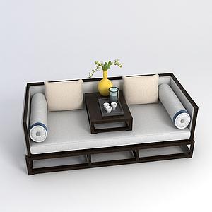 中式傳統羅漢床模型