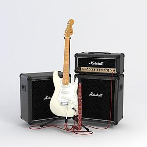 3d电吉他音响组合模型