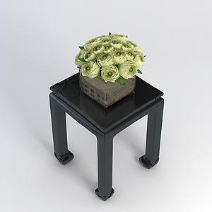 中式方桌花藝組合模型