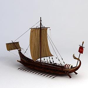 3d羅馬戰斗船模型