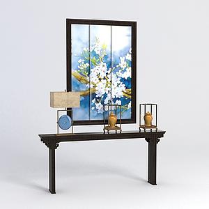 中式玄關條案裝飾畫組合模型