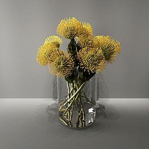 3d黃色花模型