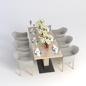 现代餐桌餐椅组合模型