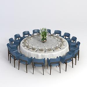 大型多人餐桌椅模型