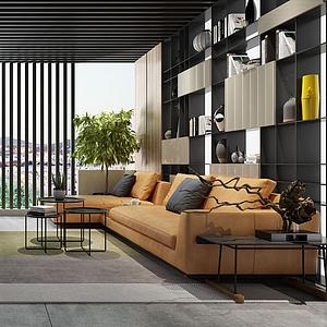 3d现代风格的客厅模型
