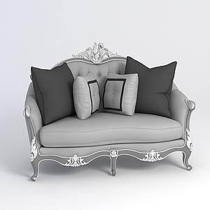 歐式灰色沙發模型