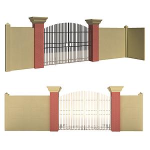 現代別墅式門模型