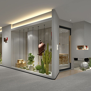 北歐風格的服裝店,門模型