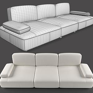 現代休閑三人沙發模型