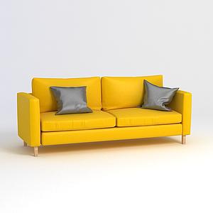 3d黃色雙人沙發模型