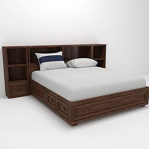 現代異形床頭柜雙人木床模型