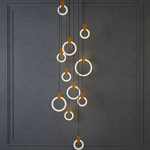 現代圓圈吊燈模型