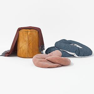 現代沙發配飾擺件抱枕毛巾模型