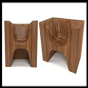 現代實木休閑椅模型